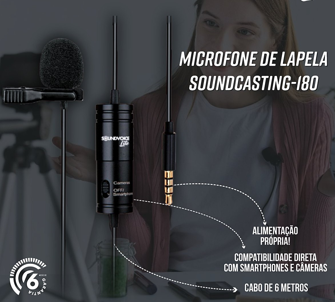 MICROFONE lapela SOUNDVOICE SOUNDCASTING-180