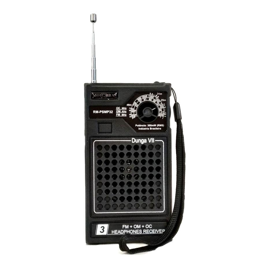 RADIO MOTOBRAS 3 Faixas RM-PSMP32 Preto