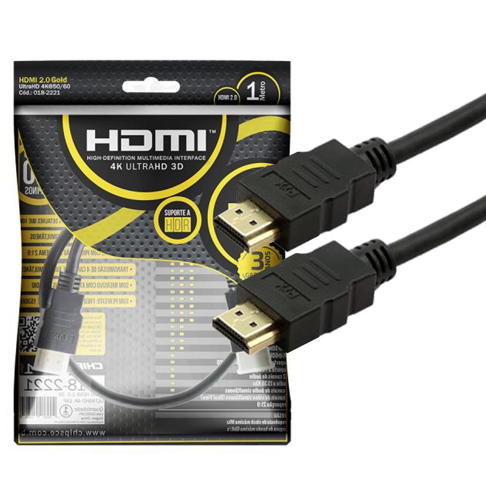 Cabo HDMI 2.0 ultra HD 4K com 1 Metros