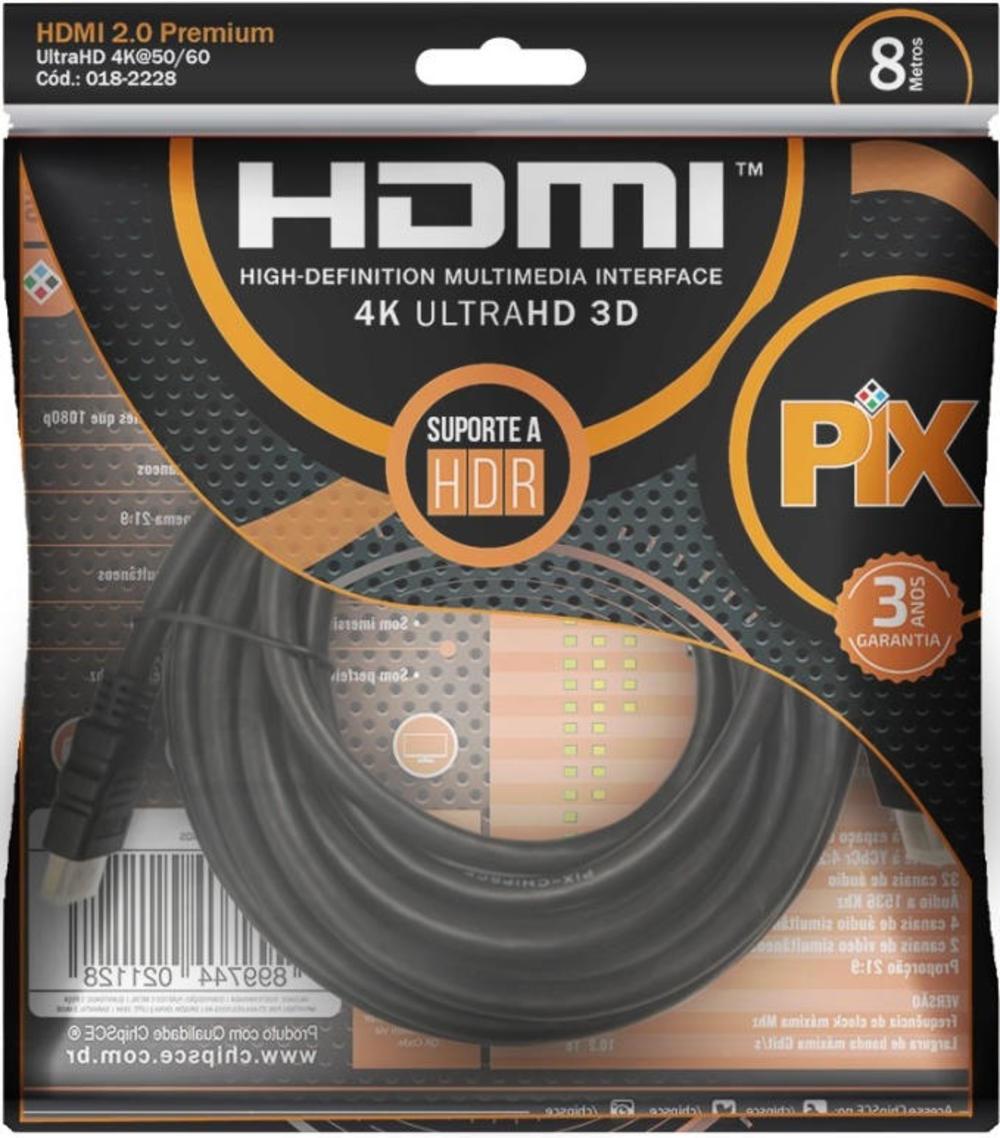 Cabo HDMI 2.0 ultra HD 4K com 8 Metros