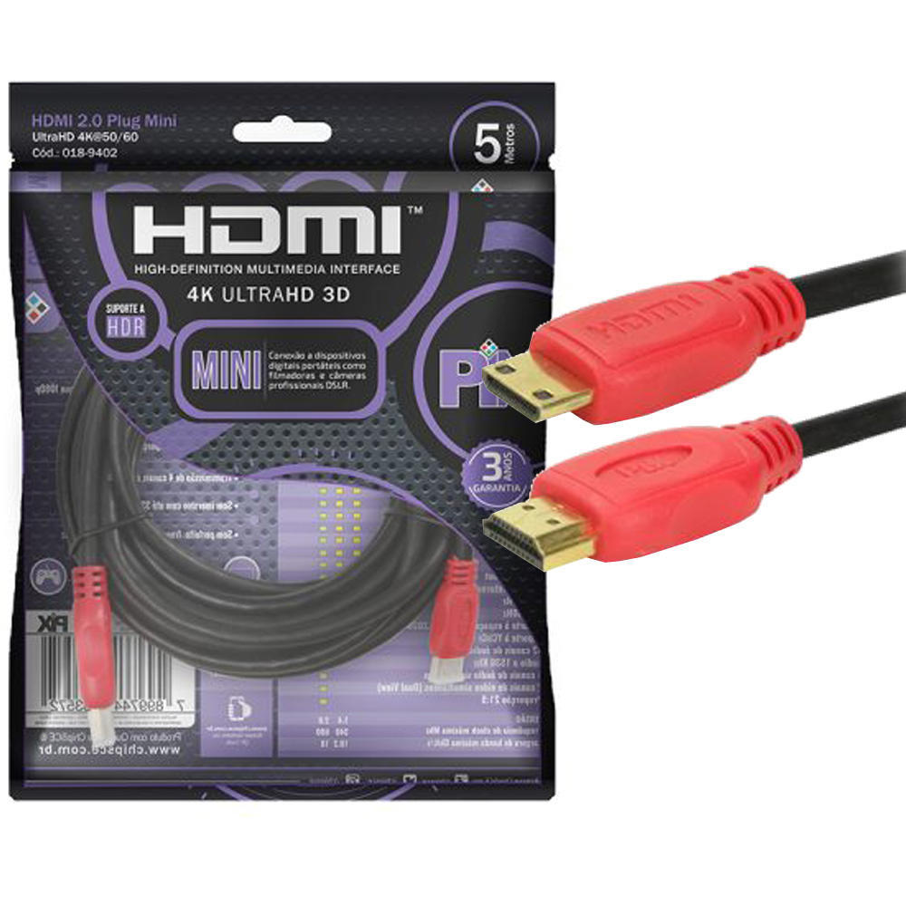 Cabo Mini HDMI x HDMI 2.0 4K ULTRAHD com 2 Metros