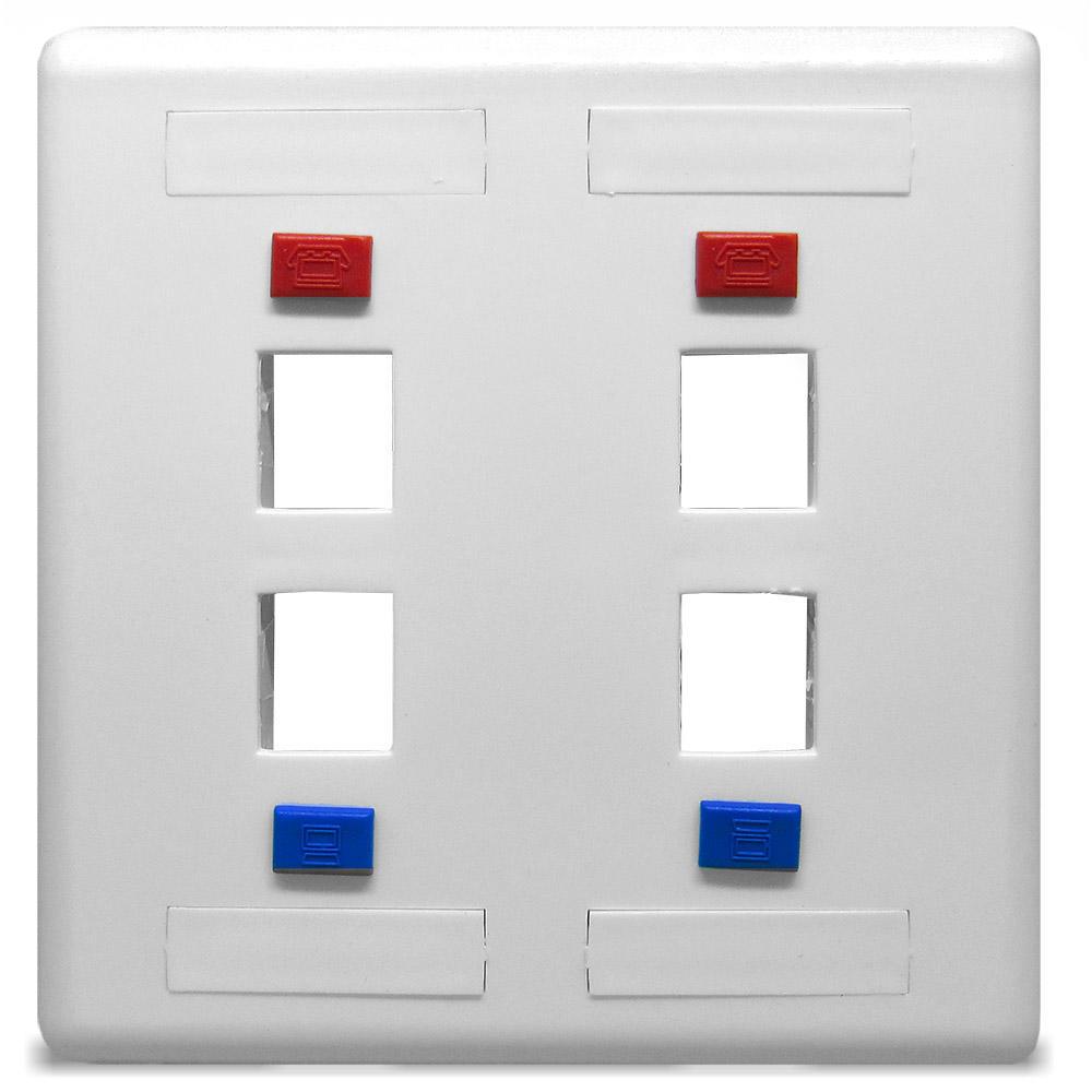 Espelho 4x4 com 4 Saida para Keystone Branco