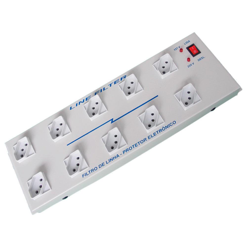 Filtro de Linha Metálico com 10 Tomadas Espaçadas - FLF10