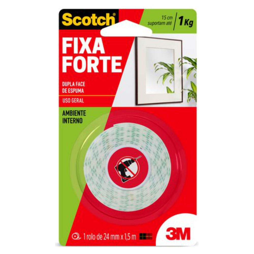 Fita Dupla Face SCOTCH com Espuma - Interno - 24mm x 1,5mts