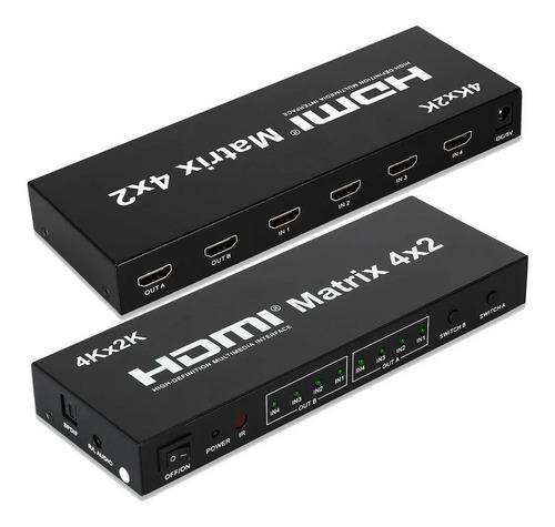 Seletor Matrix HDMI 4x2 - 04-Entradas x 02-Saidas