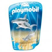 Playmobil - Aquário Saquinhos Com Animais Marinhos Mãe E Filhote.  Tubarão Martelo Com Filhote