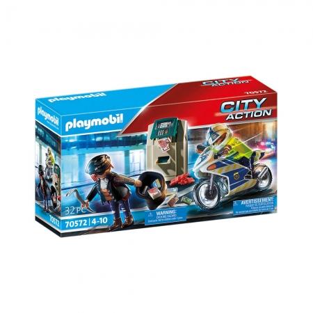 Playmobil - Caixa Eletrônico Com Policial E Fugitivo