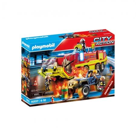 Playmobil - Carro De Bombeiros Com Caminhão