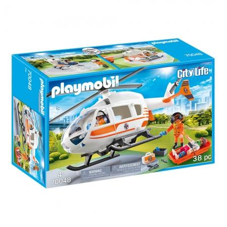 Playmobil - Helicóptero De Resgate Com Heliporto