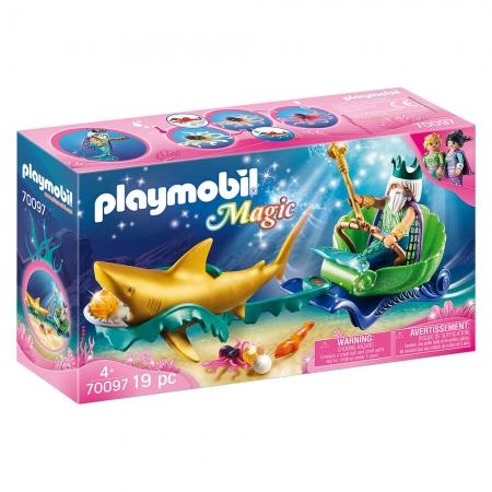 Playmobil - Rei Do Mar Com Carruagem De Tubarão