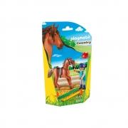 Playmobil - Soft Bag Cavalos - Cavalo Marron Com Instrutor
