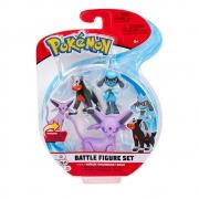 Pokémon - 3 Figuras De Ação - Espeon + Houndour + Riolu