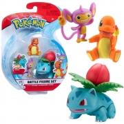 Pokémon - 3 Figuras De Ação - Ivysaur + Charmander + Aipom