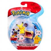 Pokémon - 3 Figuras De Ação - Loudred + Pikachu + Jigglypuff