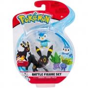 Pokémon - 3 Figuras De Ação - Umbreon + Oddish + Piplup