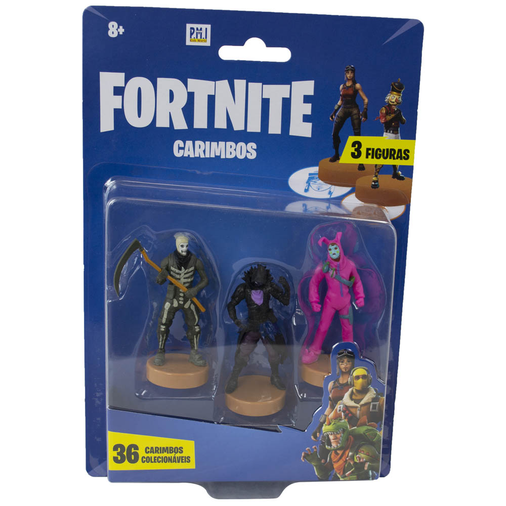 Fortnite - Carimbos Com 3 Figuras - Skull Trooper, Crow E Rabbit Raider