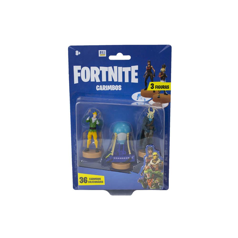 Fortnite - Carimbos Com 3 Figuras - Elf, Battle Bus E Ragnarok
