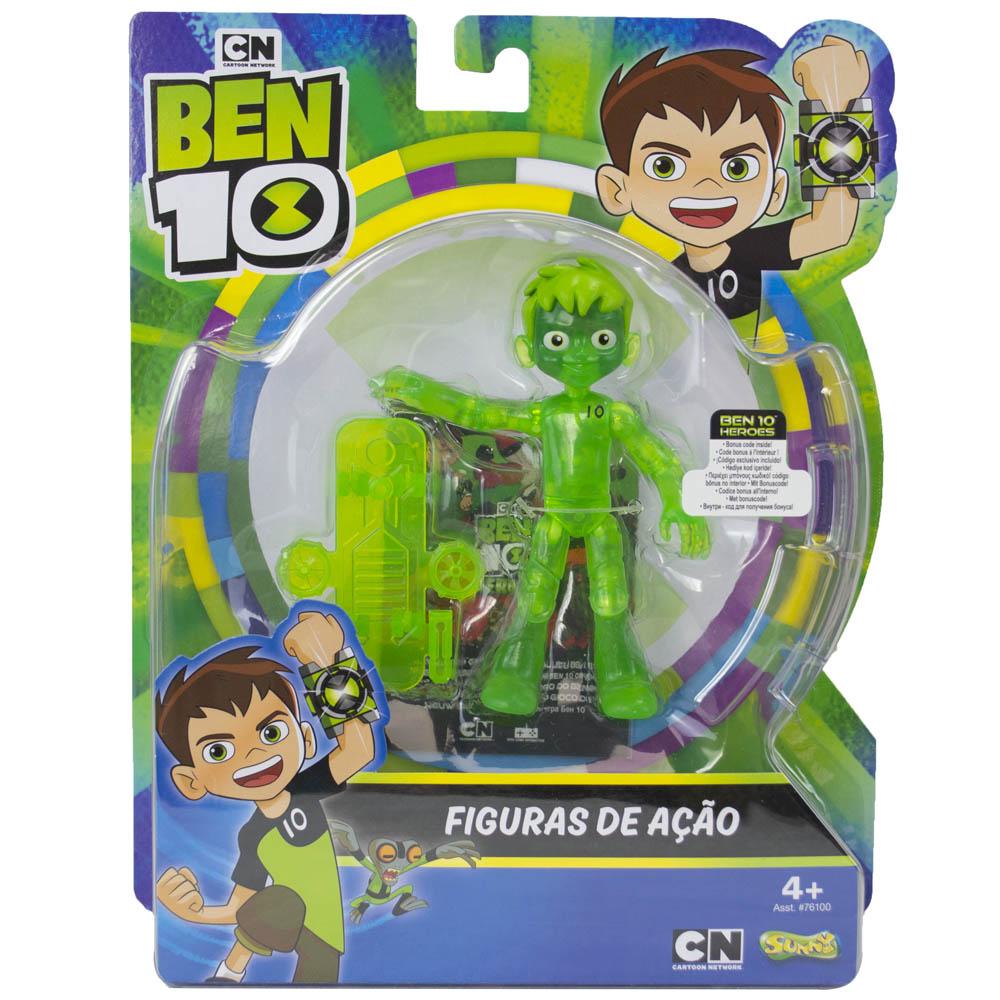 Ben 10 - Minifigura Articulada 10 Cm - Ben Glitch Fora Do Ominitrix