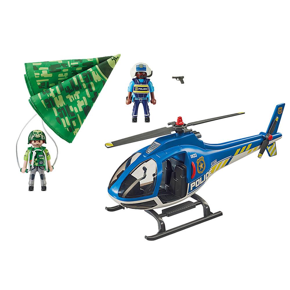 Playmobil - Helicóptero De Busca Da Polícia Com Paraquedas