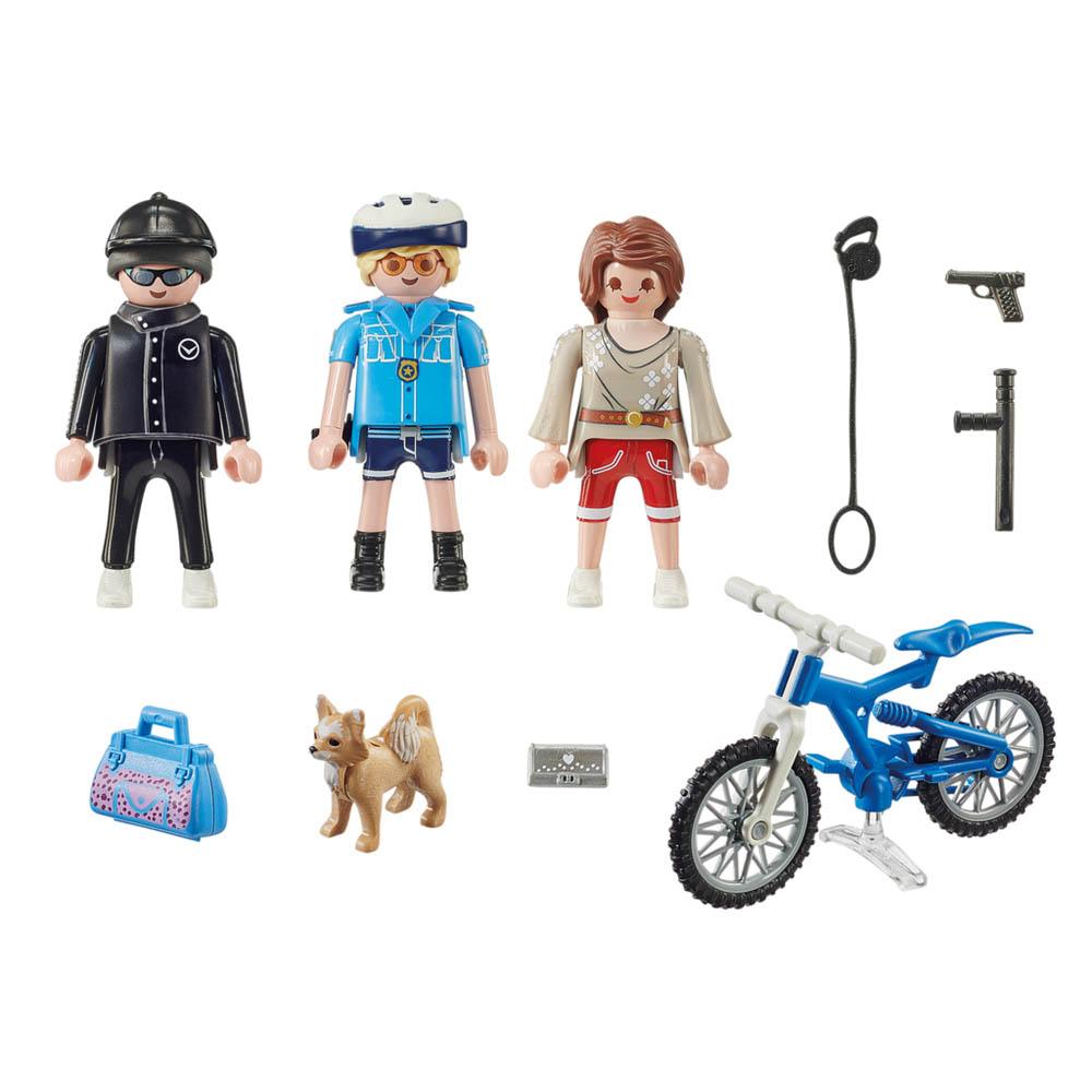 Playmobil - Policial Com Bicicleta E Fugitivo