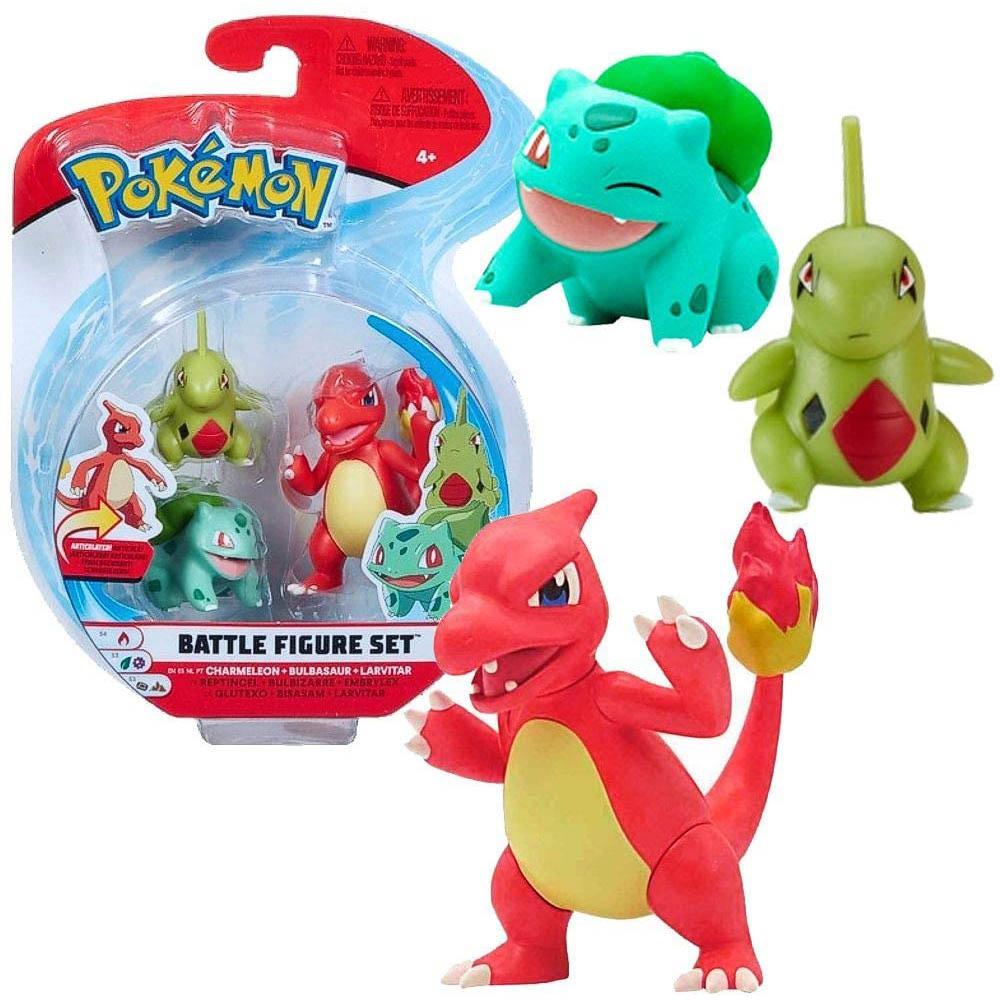 Pokémon - 3 Figuras De Ação - Charmeleon + Bulbasaur + Larvitar