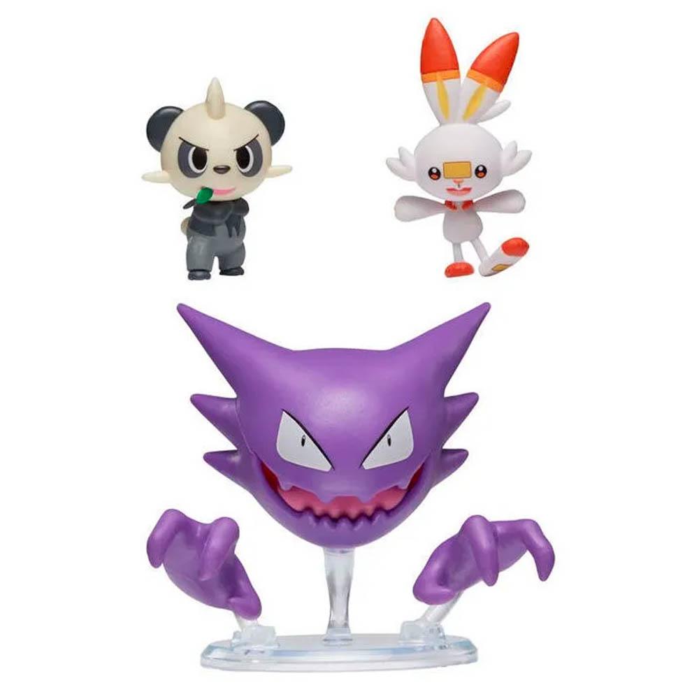 Pokémon - 3 Figuras De Ação - Haunter + Scorbunny + Pancham