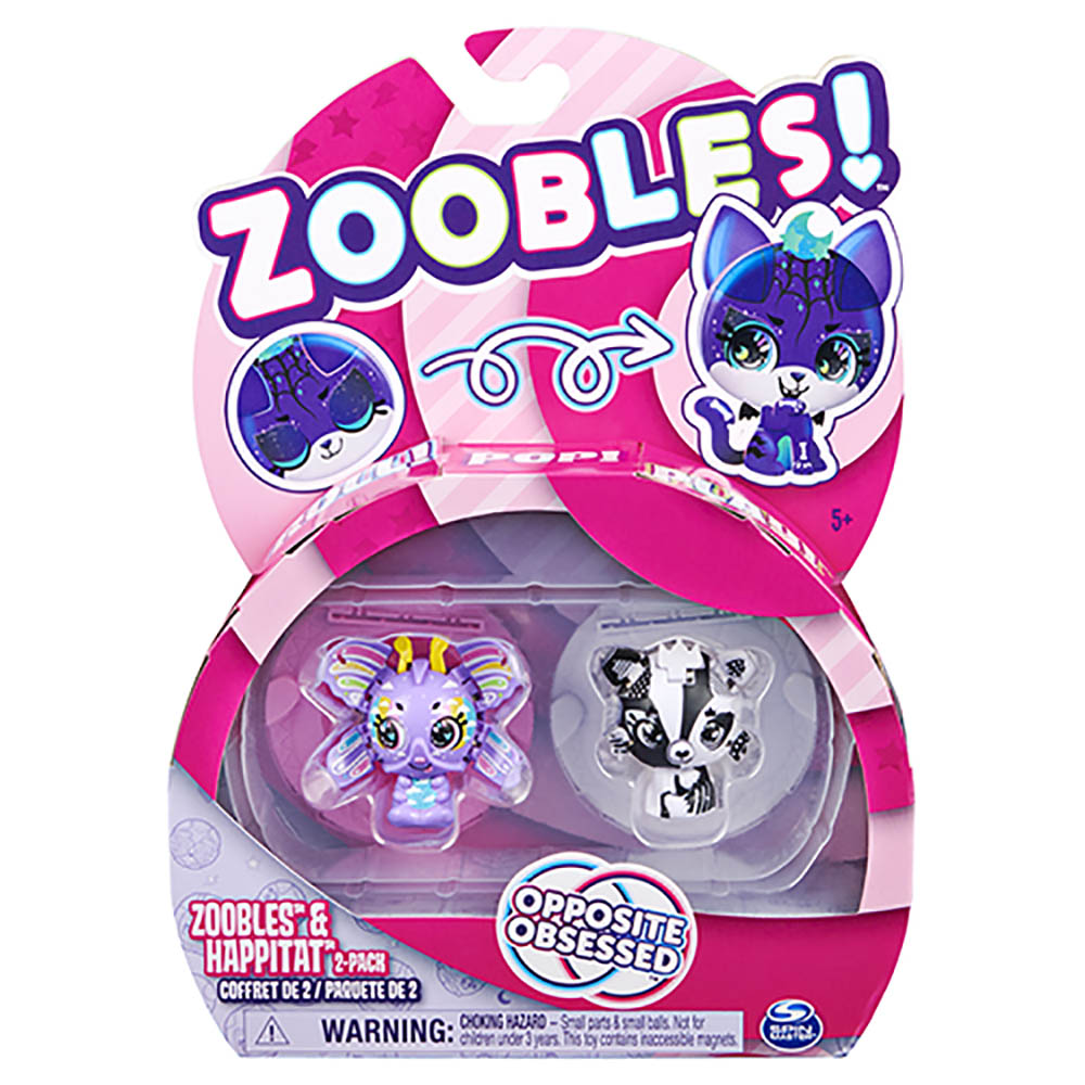 Zoobles- 2 figuras -Rainbow Butterfly e Black and White Fox