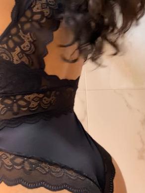 Body em renda com manga preto Marina