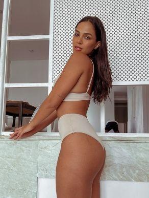 Calcinha hot pants cintura alta bege Cecília