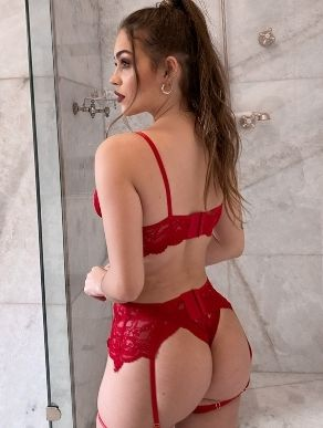 Cinta liga de renda vermelha Julia