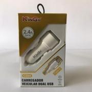 Carregador Veicular Dual Usb - Kingo - C204 - Tipo C