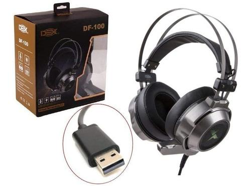 Fone Headset - Gamer Usb Dex - Df-100 Surround 7.1 C/luz