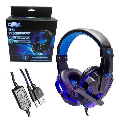 Fone Ouvido Headset Gamer P3 Dex Df-81 Led Azul