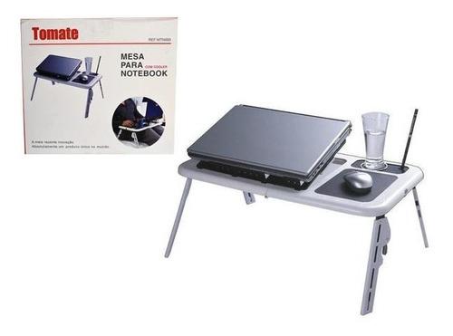 Mesinha Para Notebook Dobrável Com Cooler Usb Base P/ Mouse - Tomate