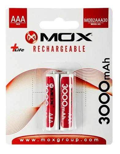 Pilhas Recarregáveis 2 Unidades Aaa, 3000mah Mox Mob2aaa30