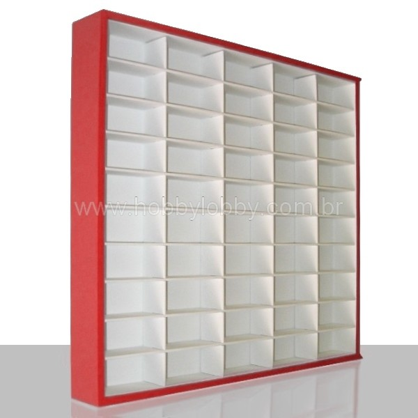 #50 DIECAST DISPLAY CASE - 1:64 [Cor: Vermelha]