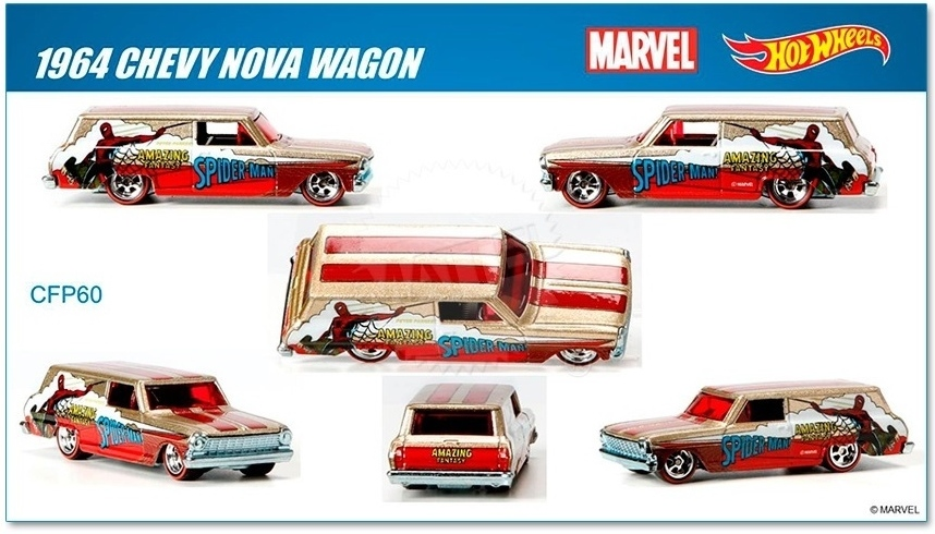 Hot Wheels - 2015 Pop Culture - Marvel - `64 Chevy Nova Wagon  - Hobby Lobby CollectorStore