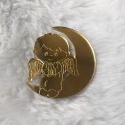 Aplique em acrílico espelhado - Anjo Menino 2 - 5cm (5 unidades)