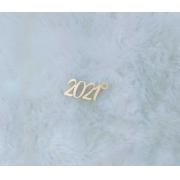 Aplique em acrílico espelhado para chaveiro - 2021 - 5cm (5 unidades) - Natal