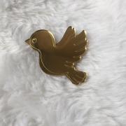 Aplique em acrílico espelhado - Pássaro - 7cm (5 unidades)
