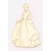 Aplique em acrílico espelhado - Princesa Cinderela - 7cm (5 unidades)
