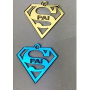 Aplique em acrílico espelhado - SUPERHOMEM PAI - 7cm (5 unidades) - Dia dos pais
