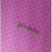 Aplique em Papelão Cinza - Felicidades - 7cm - 5 peças