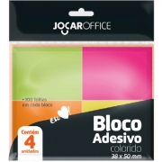 Bloco de recado autoadesivo - Jocar Neon - 38x50mm - 4 blocos de 100 folhas - Leonora