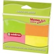 Bloco de recado autoadesivo - Memonote Neon - 38x51mm - 4 blocos de 50 folhas - Adelbras
