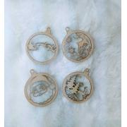 Bola de Natal Chipboard c/ 4 peças- 8cm - Design By Mila Hermont