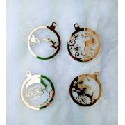 Bola em acrílico espelhado de Natal c/ 4 peças - 8cm - Design By Mila Hermont