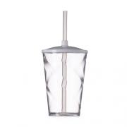 Copo Acrílico Cristal 450ml c/ Tampa e Canudo Sortido - 5 Unidades