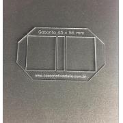 Gabarito Acrílico tipo moldura dupla com lombada - 4,5x5,5cm - Especial para post it
