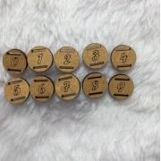 Kit Passante para Elástico em MDF - Redondo- 1,5cm - Numeros do 0 ao 9